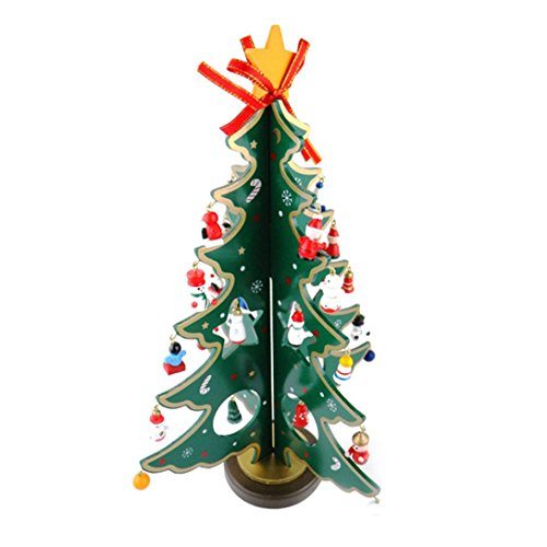 RoomClip商品情報 - Anluddy 30cmクリスマスツリー 卓上 木製 スモールサイズ 小さくて かわいい 楽しい サンタ 付き 洗練された 木製ツリー テーブル キッチン パーティー オリジナル ミニツリー (グリーン)