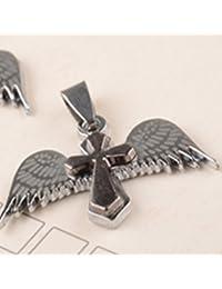 6018(SHOUT RUE)天使の羽根×十字架 ネックレス トップ チョーカー 付き? ペンダント 古銀 ブラック シルバー
