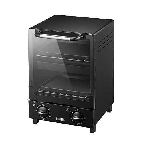 オーブン トースター 縦型 トースト 温度調整機能付き 1000W お手入れ簡単 ブラック TIBEK