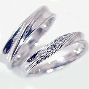 マリッジリング シルバー/ペアリング ダイヤモンド ペア2本セット/SV925ダイヤ0.04ct