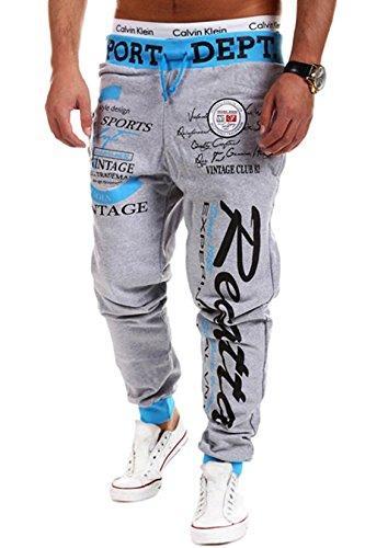 (コズーン) KO ZOON B40 ロングパンツ メンズ スポーツ ジャージ 下 ズボン ジョガーパンツ 英字 ロゴ ストリート トレーニング メンズファッション (L, 03ブルー・グレー)
