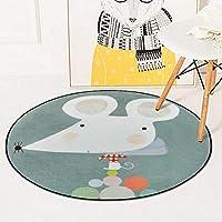 円形マット ラグ 洗える 北欧 滑り止め付き 動物柄 カーペット 丸 直径60cm 柔らかい 厚手 かわいい 床暖房対応 絨毯 秋 冬用 オールシーズン ウォッシャブル 室内用 インテリア リビング ベッドルーム 子ども部屋