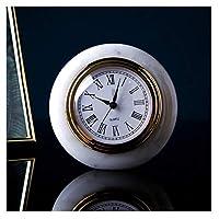 置き時計, リビングルームの装飾のためのテーブル時計小さな丸いデスクの時計電池操作されたアナログシンプルな非サイレント近代装飾的な大理石,デスククロック (Color : A)
