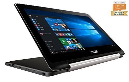 Asus TP200SA-UHBF Flip Transformer Book 2-in-1 Convertible Touchscreen Ultrabook Laptop Tablet (Intel Celeron Dual-Core N3050, 2GB DDR3L 32GB eMMC + 32GB MicroSDHC, Windows 10 Home 64-Bit) by Asus