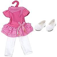 Dovewill ピンクとホワイト 18 インチ アメリカンガール人形に対応 3層ドレス レギンス、靴 子供 贈り物