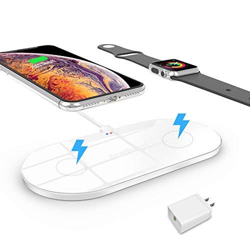 急速ワイヤレス充電器【2019年最新改良版・2in1】ZealSound ワイヤレス充電器(10W/7.5W/5W ワイヤレス急速充電器)スマホ・ウォッチ同時充電 ワイヤレスチャー ジャー 置くだけ充電 超薄型 急速充電器 Apple Watch Series 4/3/2/1/Nike+ & iPhone Xs Max/XR/Xs/X/8/8 Plus 同時に充電可 Apple7.5w/Samsung 10W 急速充電 Samsungワイヤレス充電 スタンド Samsung Galaxy S10/S10+/S10E/Note 9/S9/S9+/S8/S7/Note 8/ S7 Edge /XIAOMI