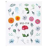 SUKTI&XIAO ネイルステッカー 1個の花のエレガントなデザインネイルウォーターステッカーデカールドライフローラルつるサボテンラップスライダーネイルアートマニキュアの装飾、Stz719