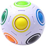 Magic Rainbow Ball Puzzle Cube Fidget Stress Relief Ball Brain Teasers Games Toys for Kids Adults (12 Holes)
