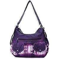 Angel Barcelo Women Multifunctional Soft Leather Handbag Purses Shoulder Hobo Backpack Crossbody Zipper Bag with Pocket