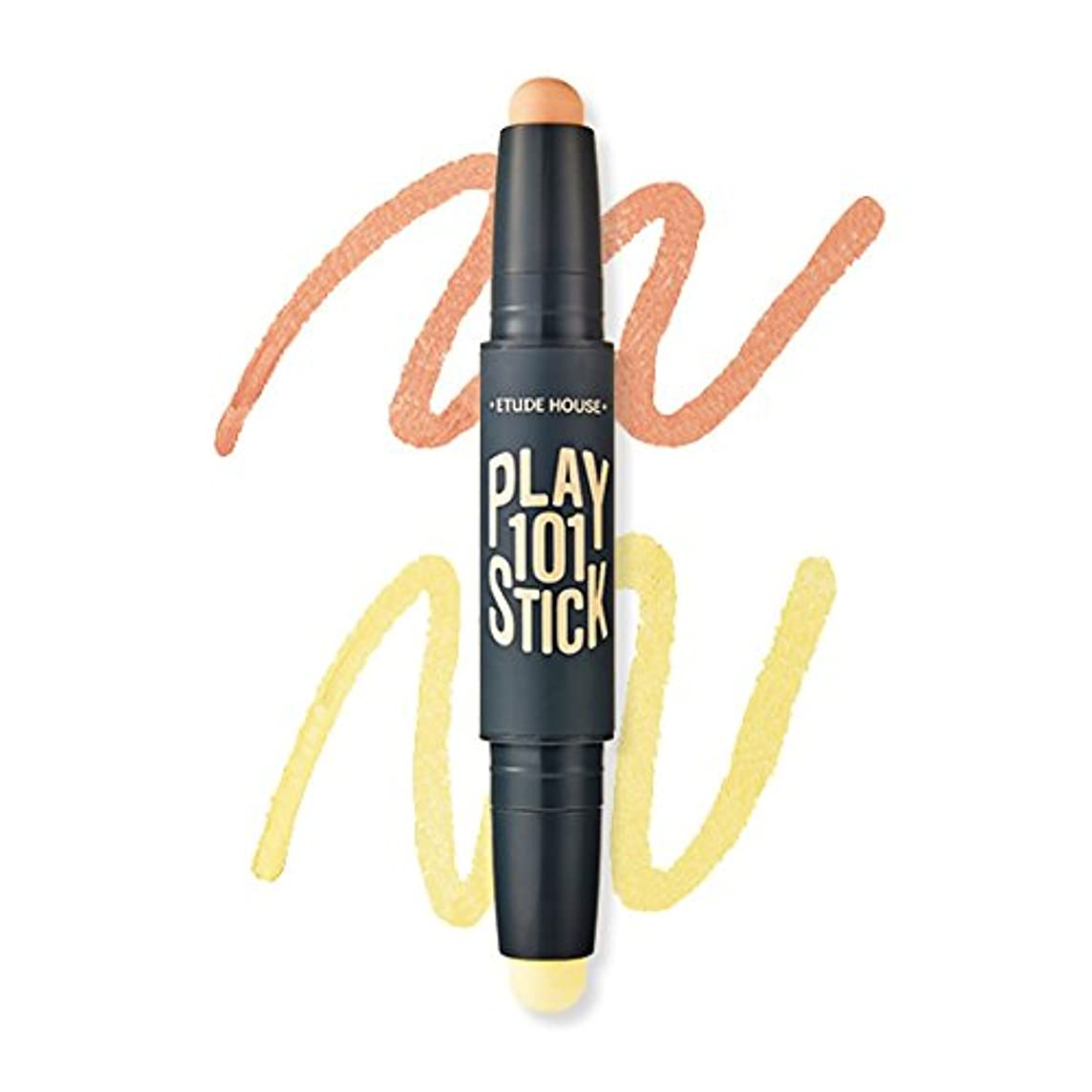 一貫したスマイルデッド[New] ETUDE HOUSE Play 101 Stick Color Contour Duo/エチュードハウス プレイ 101 スティック カラー コンツアー デュオ (#01 Blue Out:Peach Orange...