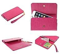 DFV mobile - カード スロットのプレミアム クレイジー ホース合成革財布ケースをカバーします。 => SONY XPERIA Z3-Compact > ピンク