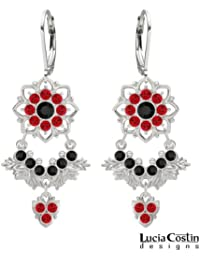 Feminine Chandelier Earrings by Lucia Costin with Black and Red Swarovski Crystals, Embellished with Leaf Ornaments...