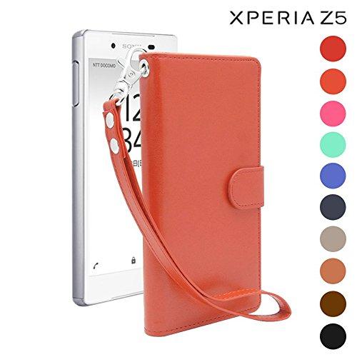 iNTAG Xperia z5 ケース 手帳型 レザー ストラップ 付き ヴィンテージ Vintage Leather Strap Diary Case (手帳 カバー カード収納 スタンド機能) コーラルオレンジ iN-VTGSTz5-COR