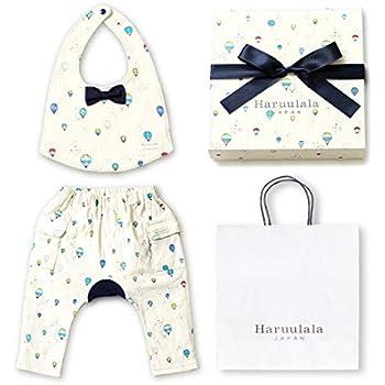 1807832460505 Haruulala Japan(ハルウララ) 出産祝い 男の子 オーガニックベビー服2点セット (スタイ+パンツ) (長袖_紙袋付き