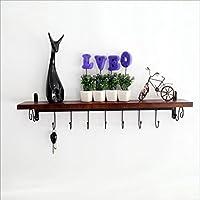 Lianリビングルーム壁ソリッド木製シェルフロフト装飾フラワーラックベッドルームコートラックフックキッチンの壁タイプストレージラックサイズ: 8015 CM (7フック) アメリカンスタイル村