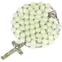 Rosary Beads Luminous Noctilucent Necklace Catholicism Religious Jewelry Party Gift Prayer, 8mm (Green) Glow in The Dark Rosary