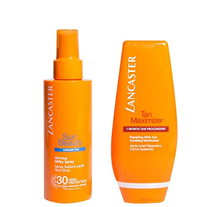 息子コメンテーター地殻ランカスター Your Suncare Routine For A Legendary Goldan Tan Set: Oil-Free Milky Spray SPF 30 150ml + Tan Maximizer...