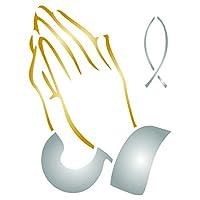 祈りの手ステンシル - 再利用可能な宗教的なカトリック魚の壁ステンシルテンプレート - ペーパープロジェクト、スクラップブックジャーナル、壁、床、ファブリック家具ガラスなどに活用することができます。 S CS1541S