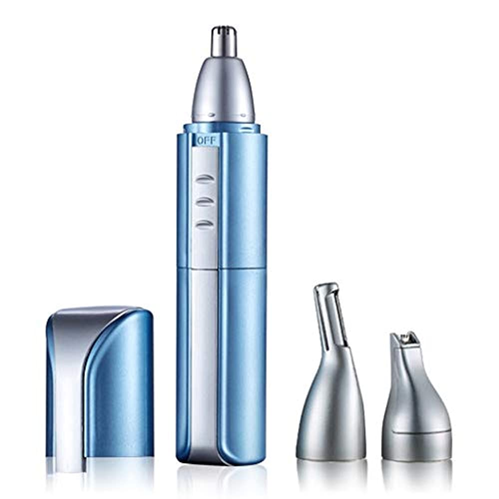 ムスタチオベルパッケージ電動鼻毛トリマーメンズトリム鼻毛男性と女性のためのシェーバー鼻、角、ひげ、眉毛などに適しています。,Blue