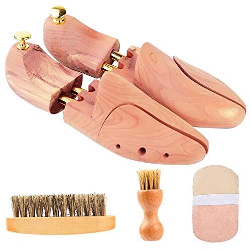 [ikomzo] シューキーパー シューツリー 23.5-29cm対応 靴磨きクロス付 レッドシダー 木製 シワ伸ばし 型崩れ防止 脱臭 香り 殺菌抗菌 除湿 メンズ レディース