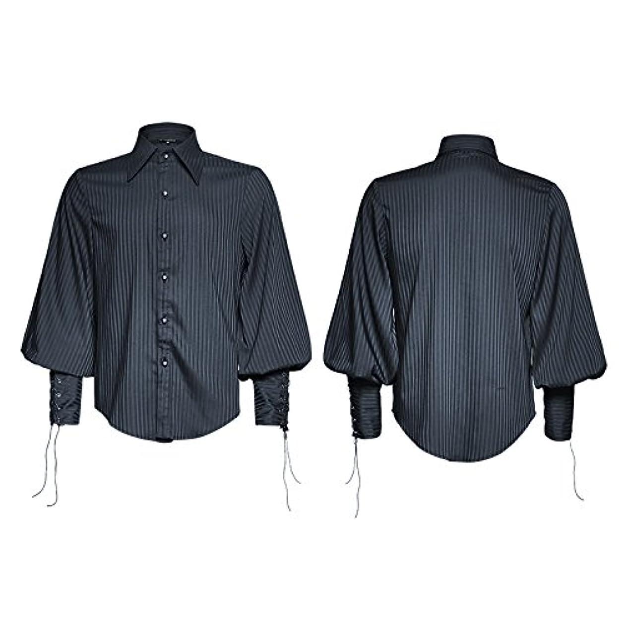 救出その間常習的メンズ 春 秋 スチームパンク ゴシック ファッション ストライプ シャツ カジュアル 黒 青 长袖 ブラウス トップス ワイシャツ (2XL, 青)