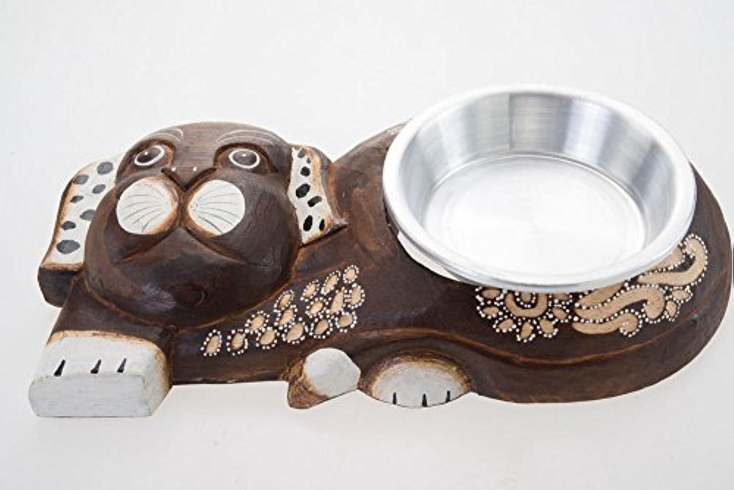 犬FeedingボウルペットWood CarvedベースアルミニウムPretty Hand Craftフィードアクセサリー