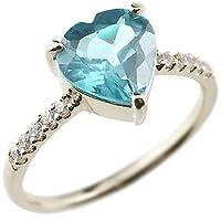 [アトラス] Atrus 指輪 ハートリング ブルートパーズ プラチナリング プラチナ ピンキーリング プラチナ900 Pt900 指輪 14号 140708100bp ハートの大粒天然石がポイントのダイヤモンドリング 11月誕生石