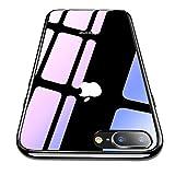 【CASEKOO】iphone 8 plus ケース iphone 7 plus ケース 薄型 強化ガラスケース 硬度9H 耐衝撃 アイフォン8/7プラス ケース ハードケース ストラップホールあり ワイヤレス充電対応 ジェットブラック