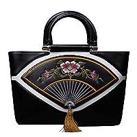 多機能刺繍クロスボディバッグ、エスニックスタイルのショルダーバッグ、創造的な女性のハンドバッグ、女性のレトロバッグ。 仕事、旅行に適しています。 4色でご利用いただけます。 (色 : 黒)