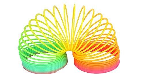 Iable 1個入れ レインボー プラスチックサークル コイル スプリング スリンキー キッズ ベビー 教育玩具