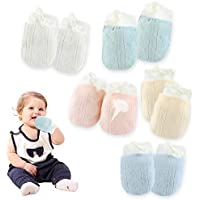 Kalevel 5 Pairs Baby Mittens Newborn Gloves 6-12 Months No Scratch Cotton Mittens Adjustable Newborn Mittens with Drawstring Breathable for Infant Boy Girl Multicolor