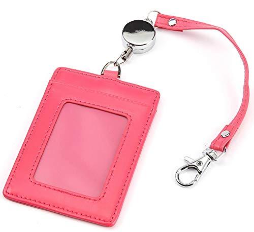 [レガーレ] パスケース リール付き 本革 レディース メンズ ストラップ付き (ピンク)