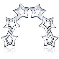 Yumilok - スターリングシルバーのスター型クリップイヤリング、低刺激性、女性と女の子に最適 [並行輸入品]