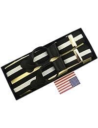 サスペンダー Y型 Yバックメンズ 紳士 USA製 Brace ブレイス ブレイシーズ ボタン止め 伸縮素材 WD Black/White Stripe B145