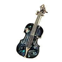 GuDeKe チェロのデザイン アワビ貝の輝き ブローチ ラペルピン ジュエリー アクセサリー (ブラック)