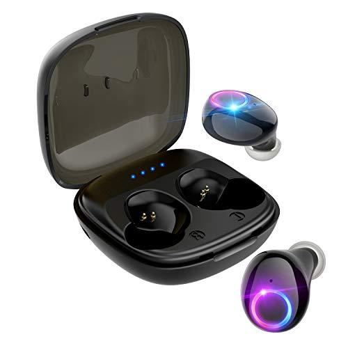 最新技術Bluetooth イヤホン ボタン式 ワイヤレス イヤホン イズキャンセリング マイク付き IPX5防水 左右分離型 自動ペアリング Siri対応 ボリューム調節可能 片耳両耳とも対応 500mAh充電ケース ミニ 持ち運び便利 iPhone/ipad/Android適用