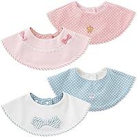 Asiso ベビー ビブ 食事用スタイ 防水 よだれかけ 丸型 男の子 女の子 2枚セット 出産祝い (2枚, ピンク+ブルー)