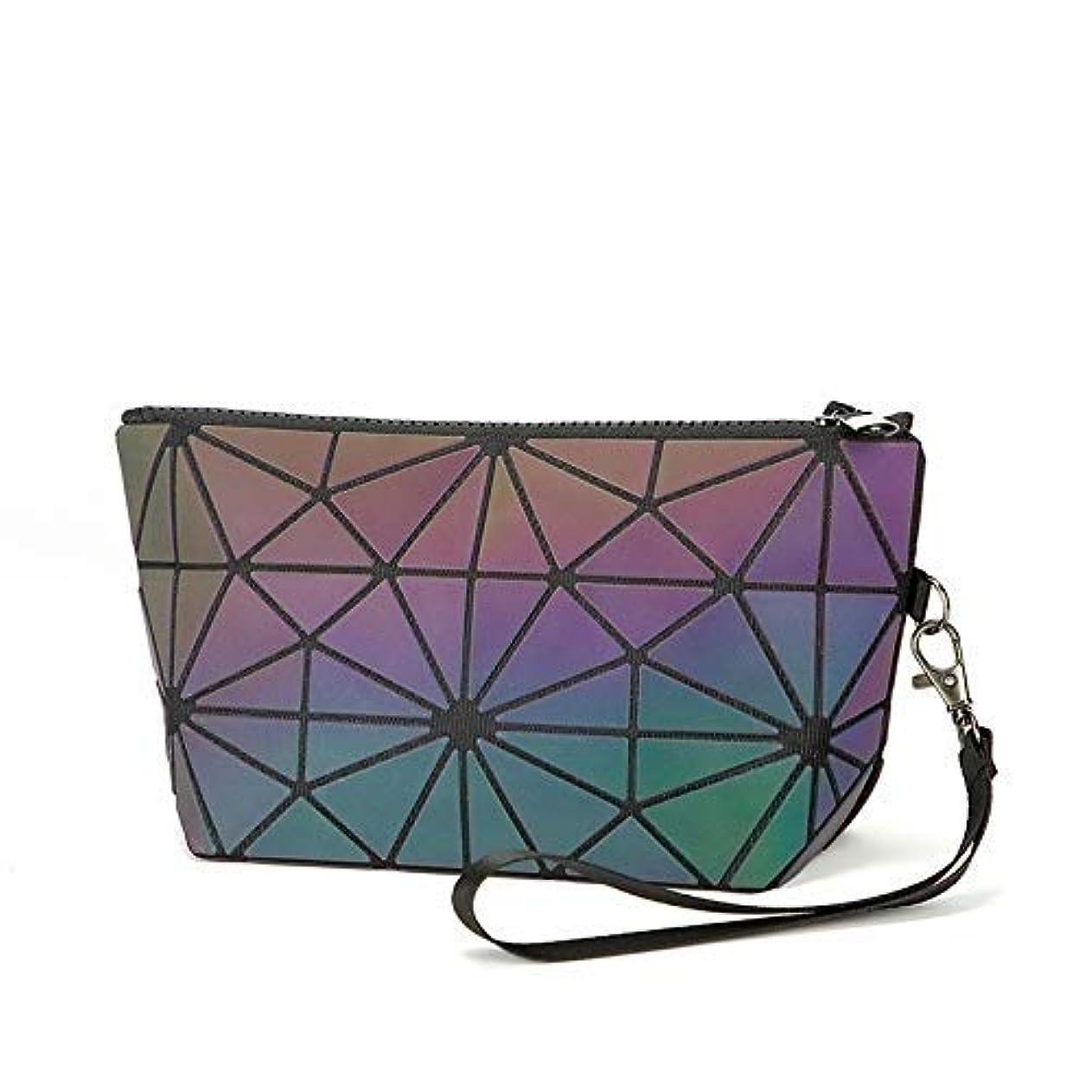 Leshang 化粧ポーチ 幾何模様デザイン 3 スタイル ホログラフィック 反射素材 化粧ポーチ 化粧品バッグ メイクバッグ コスメ収納 化粧道具の収納バッグ (2)