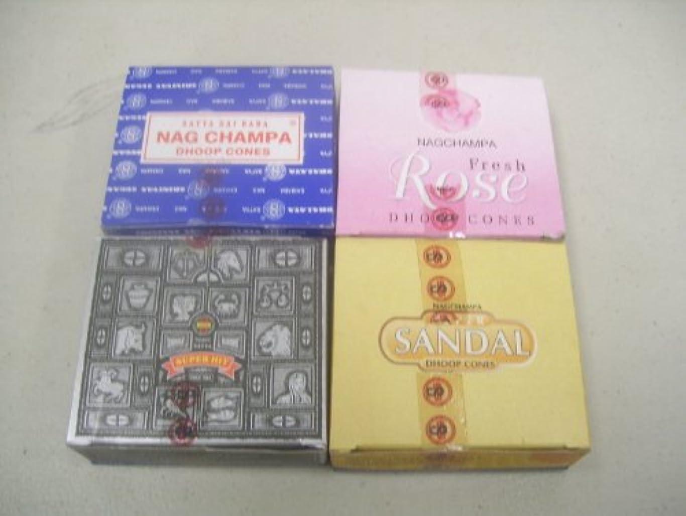 割り込み新鮮な乳剤Nag ChampaフレッシュローズスーパーサンダルSuper Hit Incense Cones by Satya Sai Baba 4 X 12 (48 )