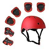 ZCS-SHOPキッズマルチスポーツヘルメット、膝&肘パッドと手首、7点子供の男の子と女の子アウトドアスポーツセーフティギアセットスケートボード用サイクリングスケートスクーター (レッド)