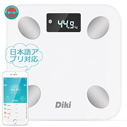 DIKI 体重・体組成計 bluetooth体脂肪計 体重/体脂肪/筋肉量/推定骨量/体脂水分/BMIなど測定可能 ホワイト