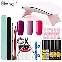 Ellwings Ellwingsゲルワニスセット6W UV LEDランプ任意の3純粋な色ネイルジェルポーランド語DIYネイルアートマニキュアキットネイルジェルネイルツール