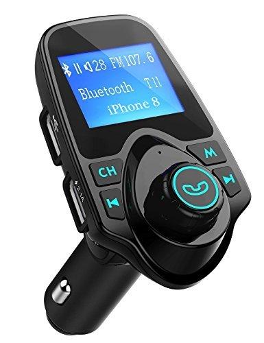 Qtuo FMトランスミッター カースピーカー ワイヤレス発信機 Bluetoothレシーバー 高音質 TFカード&USBメモリーカード対応 USB2ポート ディスプレイ表示 スマホ充電可 スマホ ラップトップ タブレット 全機種Bluetooth対応 18ヶ月間メーカー保証