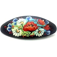 Russian Hair Clip Hand Painted Barrette black with flowers Zhostovo style only one like this by BuyRussianGifts [並行輸入品]