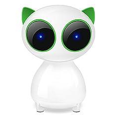 E-More 高音質HiFiポータブルスピーカー 猫ネコ型♪デザイン オーディオ 可愛いUSB給電 音量調節 PC スピーカー スピーカー サブウーファー  デスクトップ/ラップトップ /タブレットPC /スマートフォン LEDライト付き♪(グリーン)