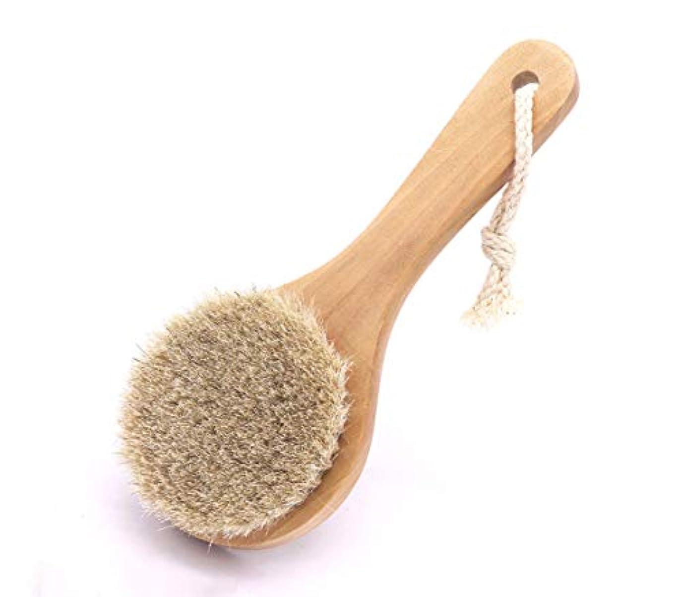 余分なフリル論争的Maltose 馬毛ボディブラシ 木製 短柄 足を洗う お風呂用 体洗い 女性 角質除去 柔らかい 美肌 (馬毛ボディブラシ)