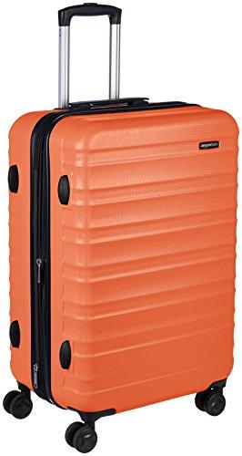 Amazonベーシック ハードタイプ ダブルキャスター付きスーツケース 24インチ (61cm) オレンジ