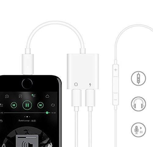 『Sanfic iPhone X/8/8plus/7/7plus(IOS11対応) iphone イヤホン変換アダプタ 2in1 イヤホン充電 イヤホン変換 変換ケーブル lightning変換コネクタ(ホワイト)』の2枚目の画像