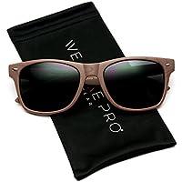 WearMe Pro Adult Faux Wood Reflective Revo Color Lens Horn Rimmed Style Sunglasses