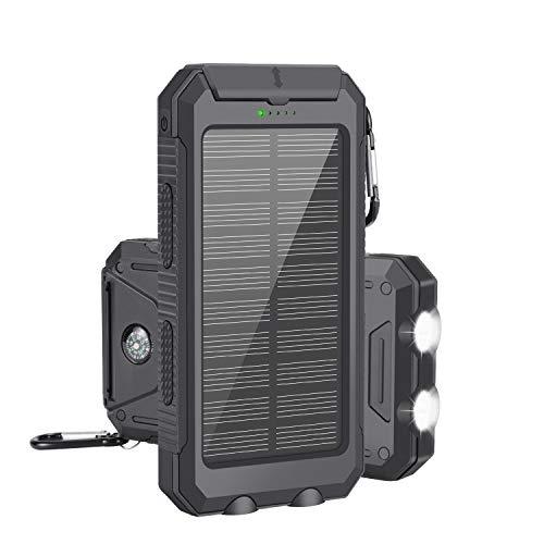 モバイルバッテリー ソーラーチャージャー 10000mah超大容量 急速充電 ?iPhone/Android 電源充電可 2USB出力ポート 二個LEDランプ搭載 太陽光で充電でき コンパス付き 日本語説明書付き ブラック